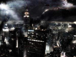 Vista aérea de una ciudad por la noche